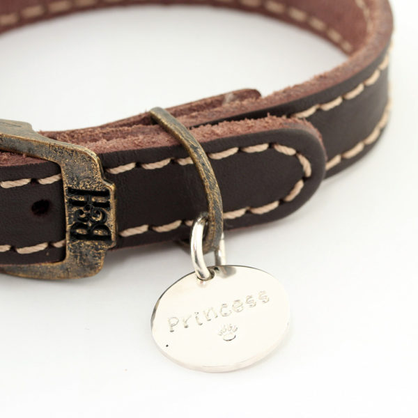 Bailey and Hound Stitched Leather Extra Small Dog Collar with Princess Round Brass Dog Tag