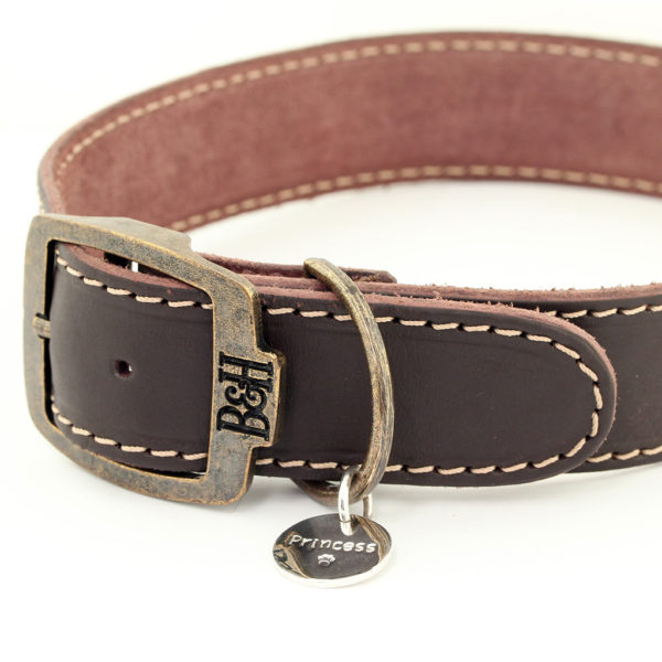 Bailey and Hound Stitched Large Leather Dog Collar with Princess Round Brass Dog Tag and Branded Brass Buckle