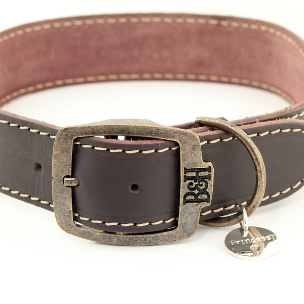 Bailey and Hound Stitched Leather Dog Collar with Branded Brass Buckle