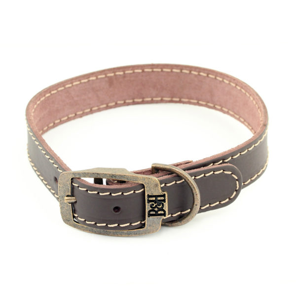 Bailey and Hound Stitched Leather Large Dog Collar