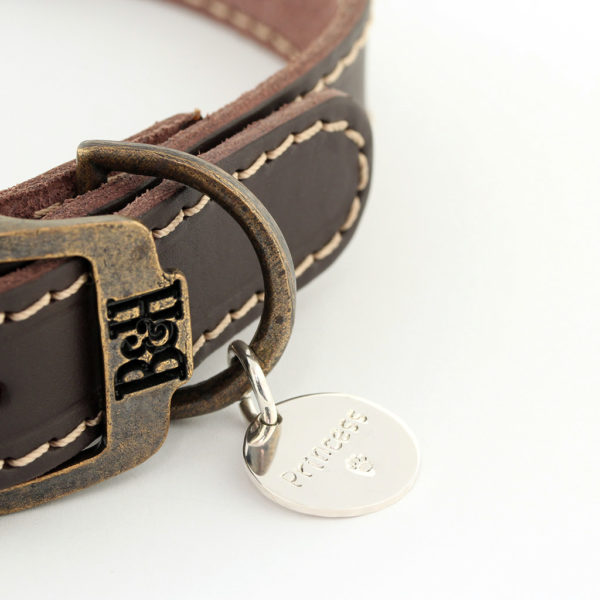 Bailey and Hound Stitched Leather Medium Dog Collar with Princess Round Brass Dog Tag