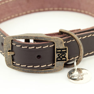 Bailey and Hound Stitched Leather Medium Dog Collar
