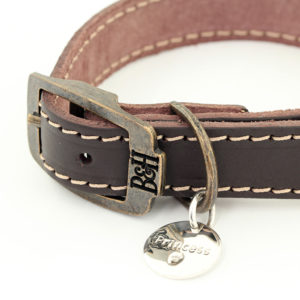 Bailey and Hound Stitched Leather Small Dog Collar with Princess Round Brass Dog Tag