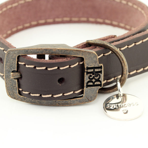 Bailey and Hound Stitched Leather Dog Collar with Princess Round Brass Dog Tag