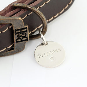 Bailey and Hound Princess Round Brass Dog Tag