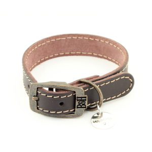 Bailey and Hound Stitched Leather Small Dog Collar