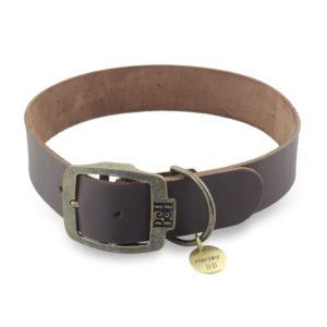 Bailey & Hound Plain Leather Dog Collar with Tag
