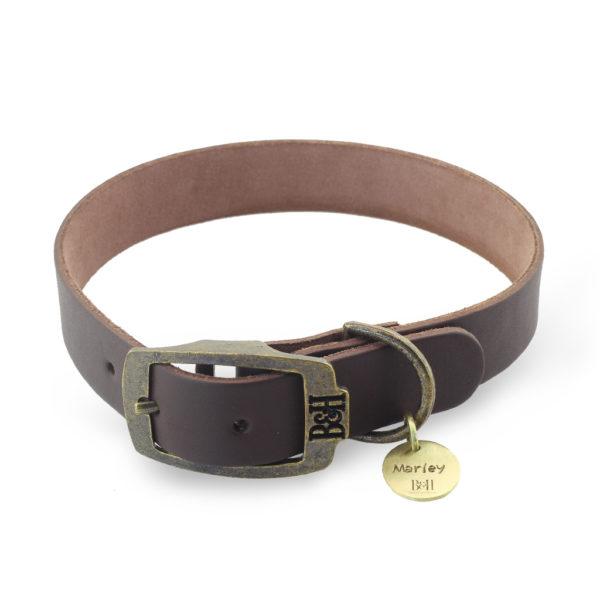 Bailey & Hound Plain Medium Leather Dog Collar with Tag