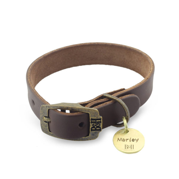 Bailey & Hound Plain Extra Small Leather Dog Collar with Tag